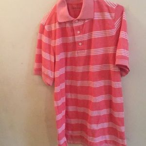 3/$30 Croft & Barrow Stripe Salmon Pink Polo Shirt